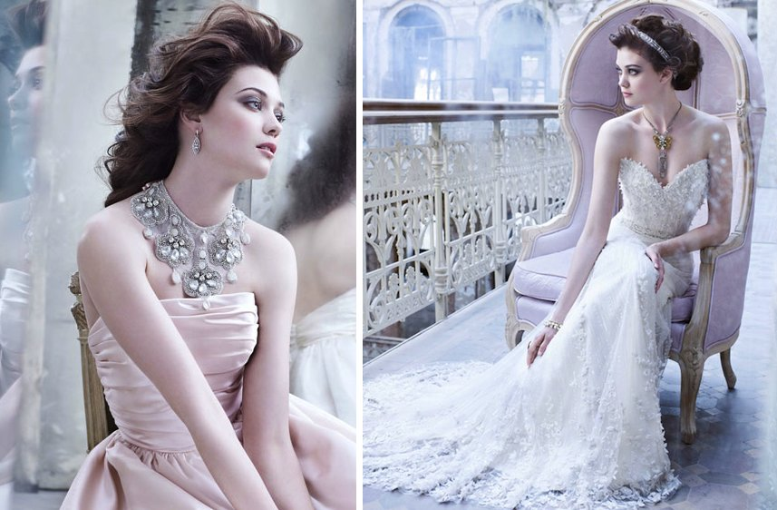 romantic fall 2012 wedding dresses Lazaro bridal gown blush pink ivory lace