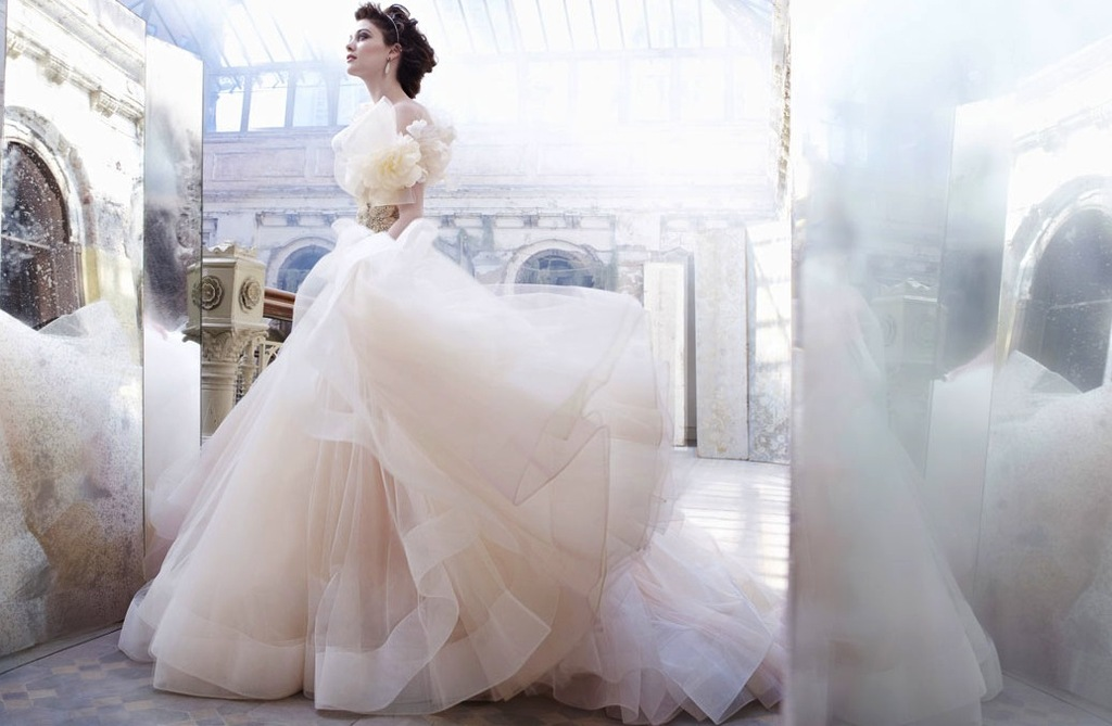 fall 2012 wedding dress Lazaro bridal gowns tulle ballgown