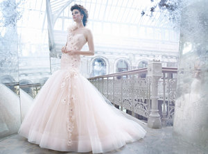 photo of Non-white wedding dresses- peach gown by Lazaro