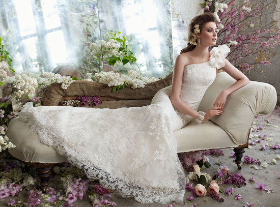 fall 2012 wedding dress tara keeley bridal gowns one shoulder lace applique