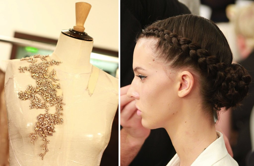 runway to white aisle wedding dress inspiration elie saab couture fall 2012 braided hairstyle