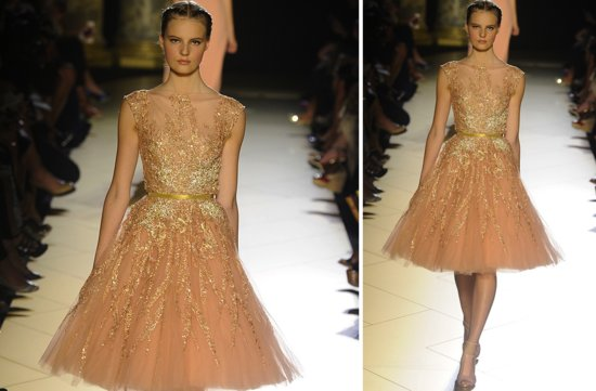 runway to white aisle wedding dress inspiration elie saab couture fall 2012 peach tulle LWD