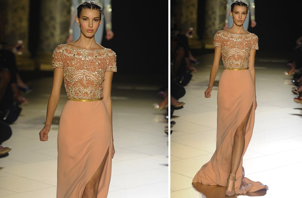 runway to white aisle wedding dress inspiration elie saab couture fall 2012 gold peach