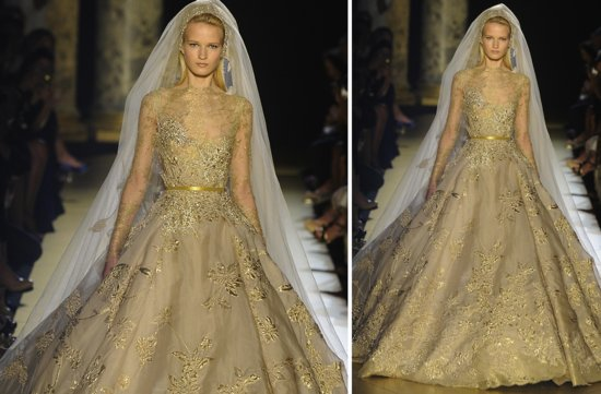 runway to white aisle wedding dress inspiration elie saab couture fall 2012 1
