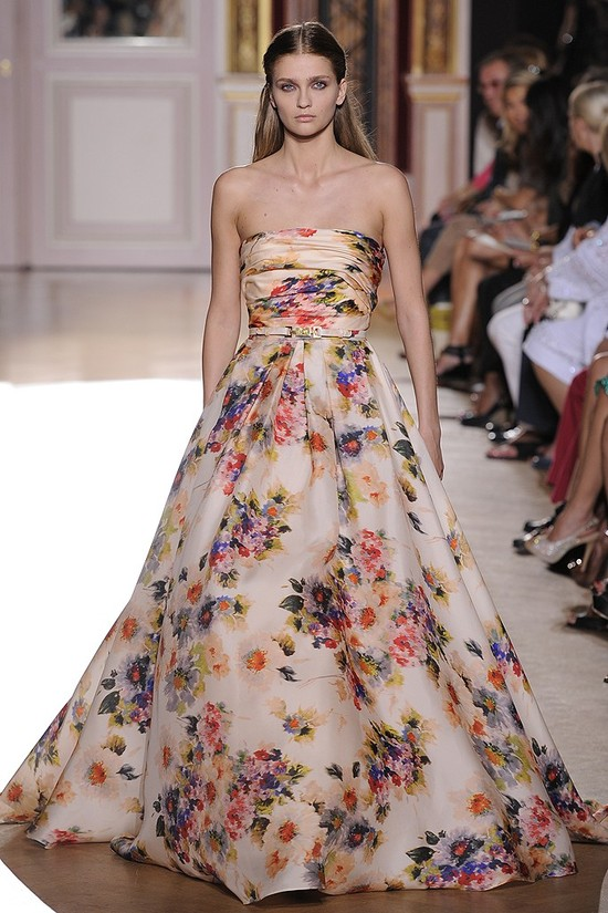 runway to white aisle wedding dress inspiration fall 2012 zuhair murad floral printed