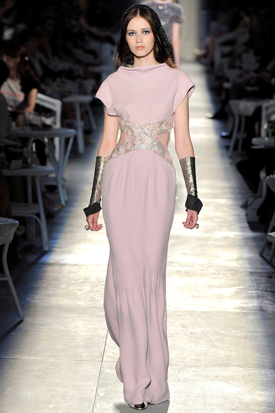 runway to white aisle wedding dress bridesmaid dress inspiration Chanel blush pink with cutouts