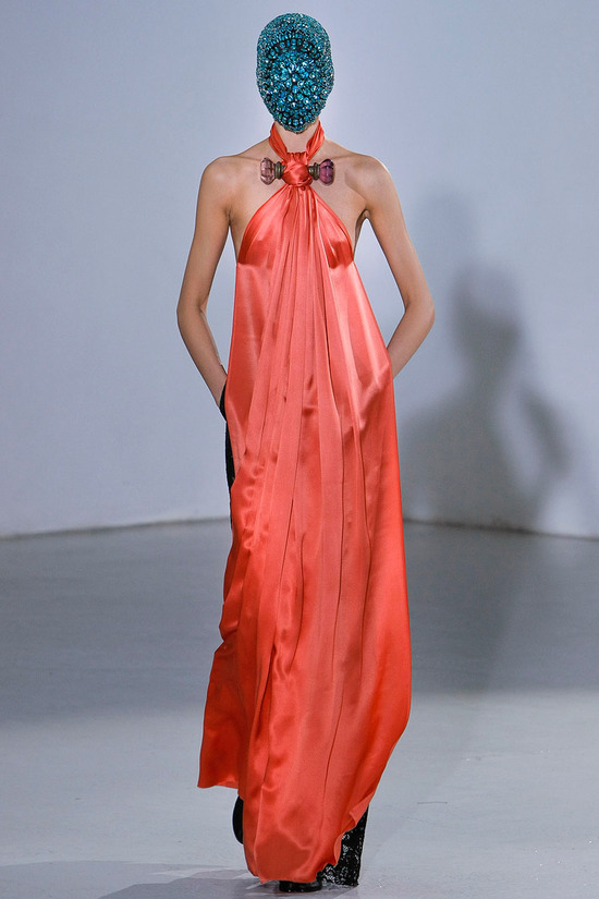 runway to white aisle wedding dress bridesmaid dress inspiration Maison Martin Margiela orange silk