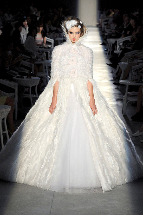 runway to white aisle wedding dress bridesmaid dress inspiration Chanel ballgown