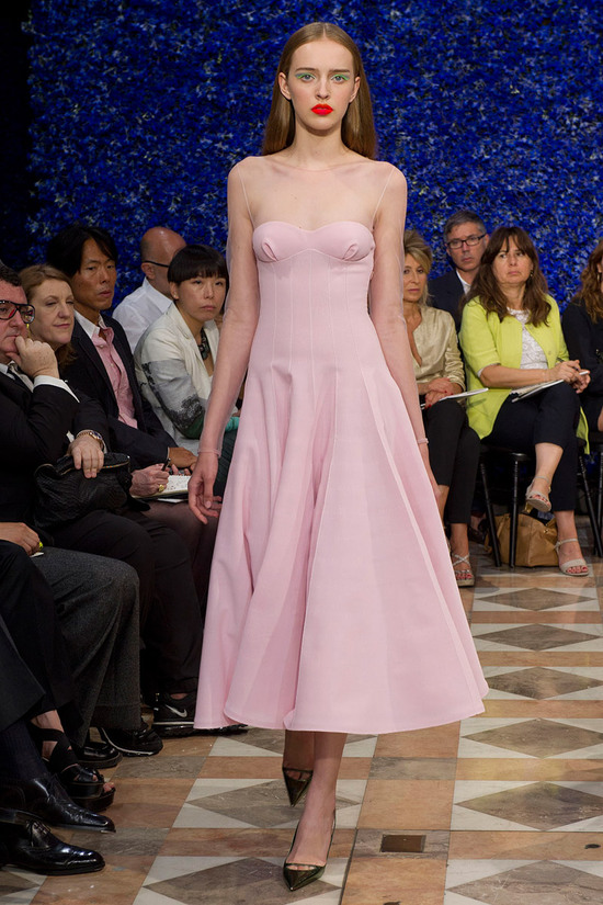 runway to white aisle wedding dress bridesmaid dress inspiration Christian Dior little pink dress