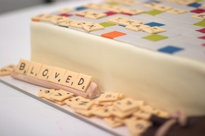 photo of fun grooms cake wedding cakes scrabble