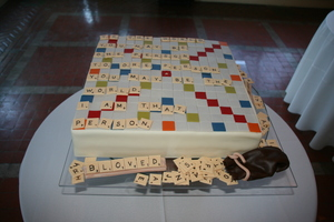 photo of unique grooms cakes scrabble board