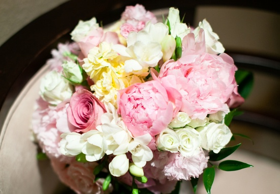 romantic bridal bouquet spring wedding flowers pink ivory