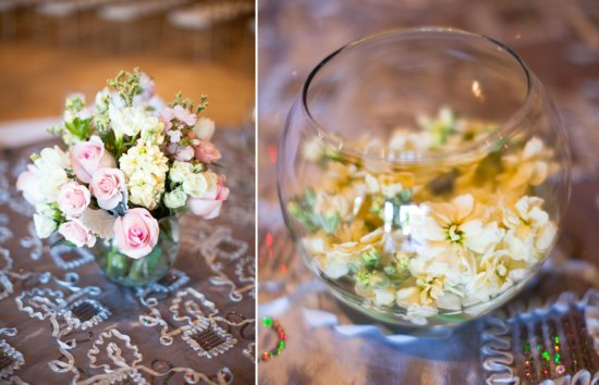 romantic real wedding pastel floral centerpieces 1