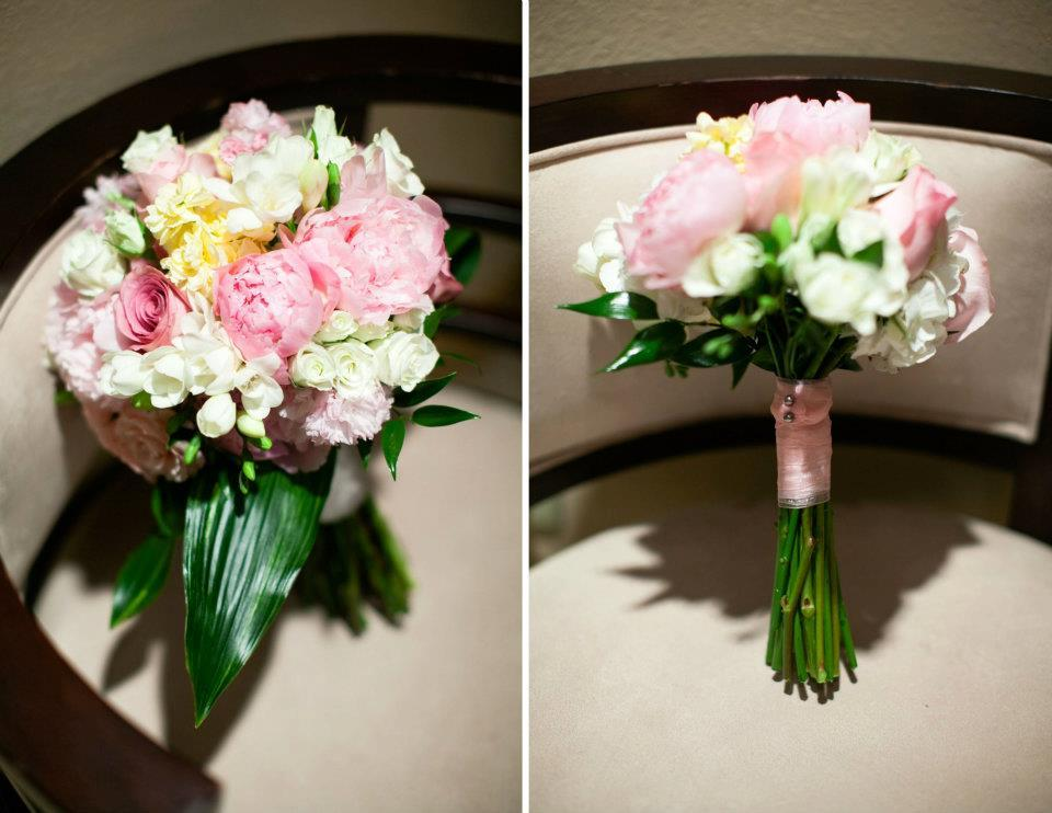 romantic bridal bouquet pink ivory wedding flowers