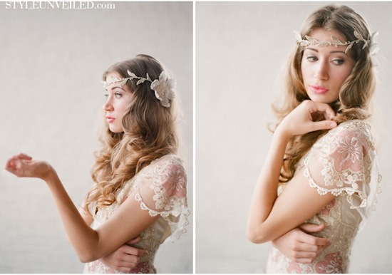 romantic wedding hairstyles bohemian bride in Claire Pettibone 3