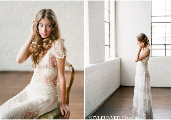 romantic wedding hairstyles bohemian bride in Claire Pettibone 2