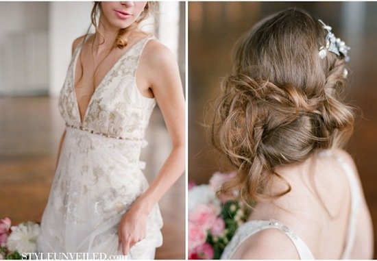 romantic wedding hairstyles bohemian bride in Claire Pettibone 1