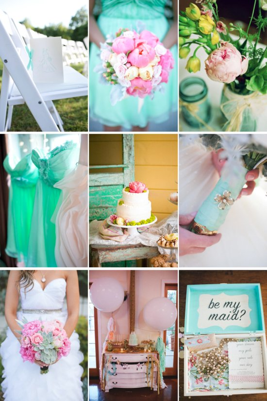 teal and peony pink wedding color inspiration