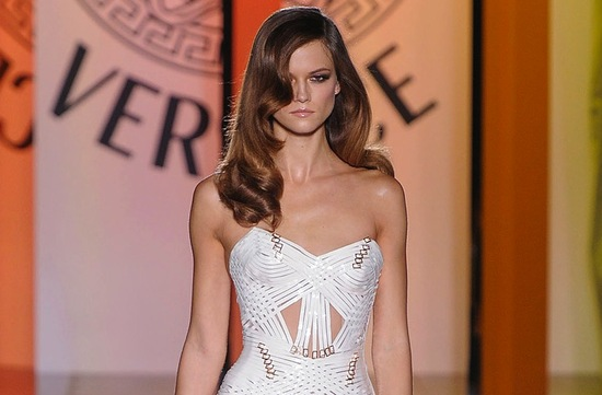 photo of wedding hair inspiration catwalk to white aisle for brides Versace 1