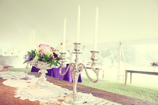 all white wedding with modern pops of color purple pink