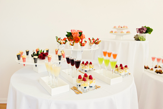modern wedding reception decor all white with vibrant pops