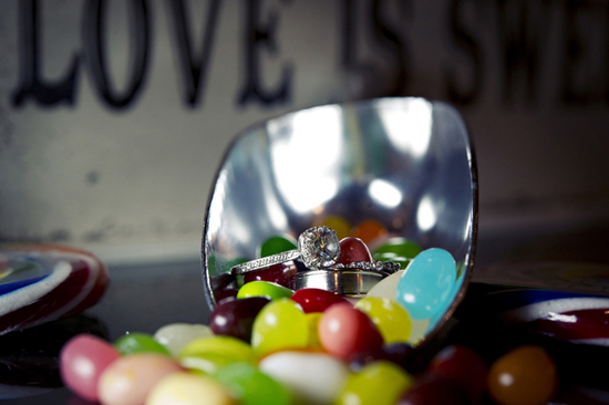 diamond engagement ring shot with jelly bellies