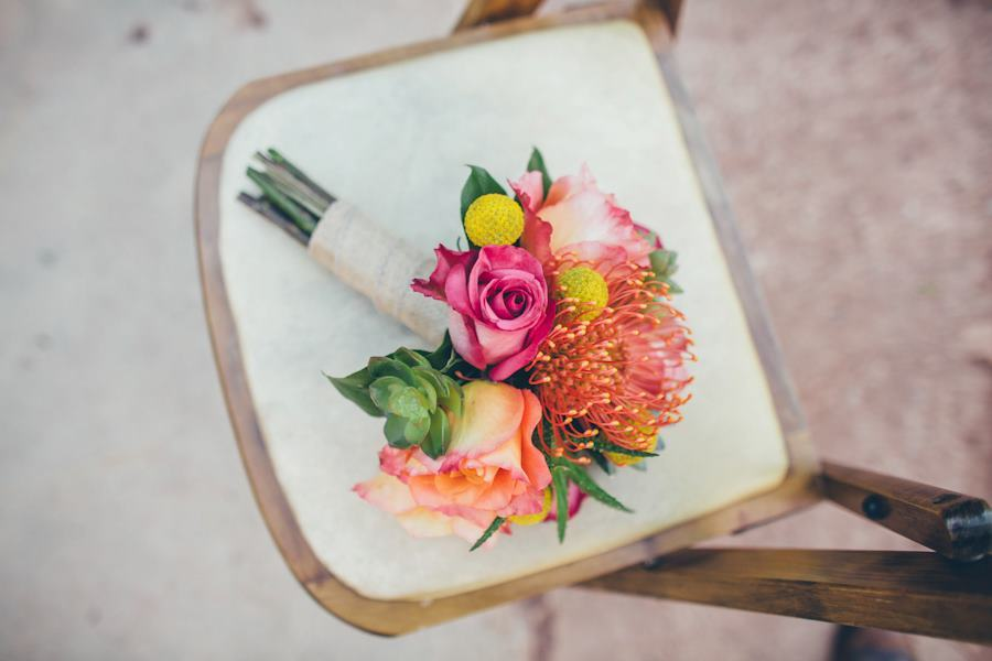 whimsical bridal bouquet pink orange yellow