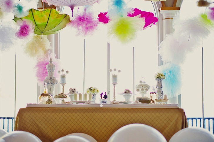 whimsical wedding reception dessert table colorful