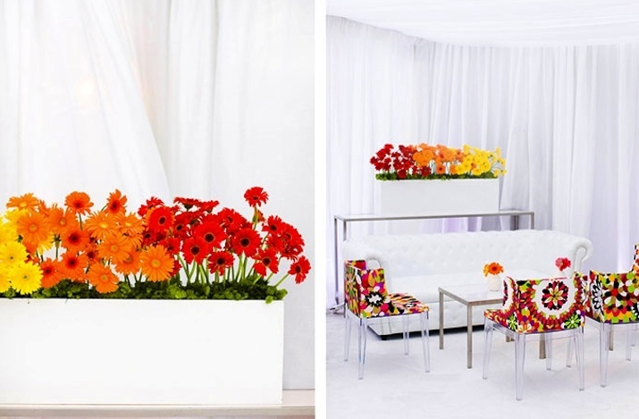bold wedding colors modern reception decor tented venue red orange yellow