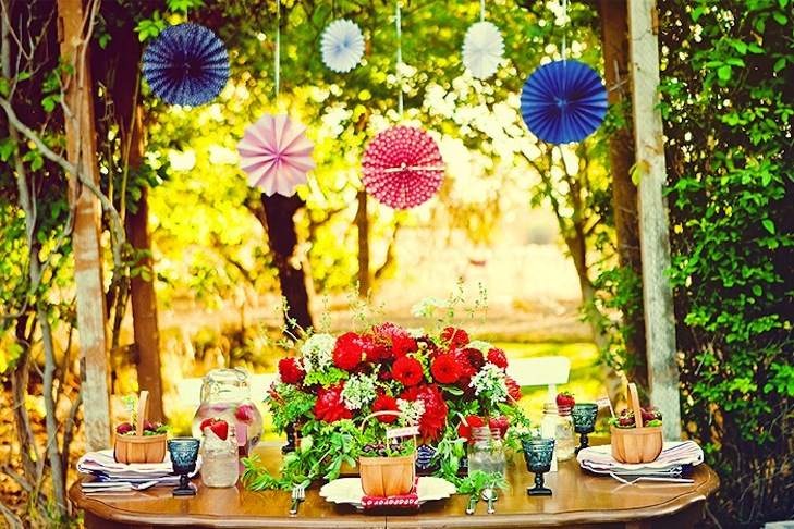 red white and blue wedding inspiration 4th of july weddings outdoor sweetheart table