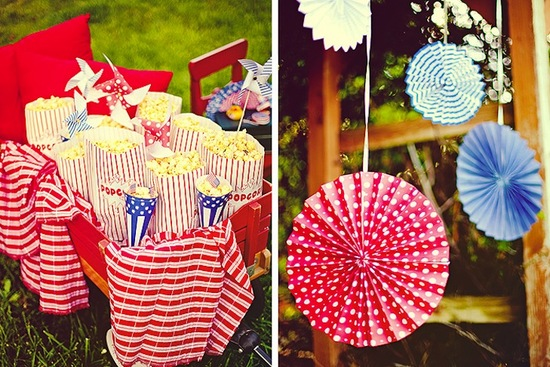 red white and blue wedding inspiration 4th of july weddings popcorn penants