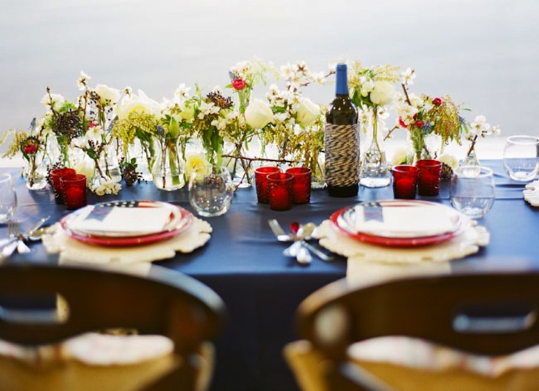 red white and blue wedding inspiration 4th of july weddings vintage americana tablescape