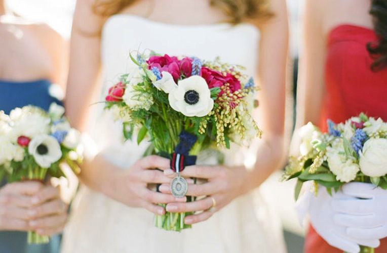 White Wedding Flowers July : Red white and blue wedding inspiration th of july
