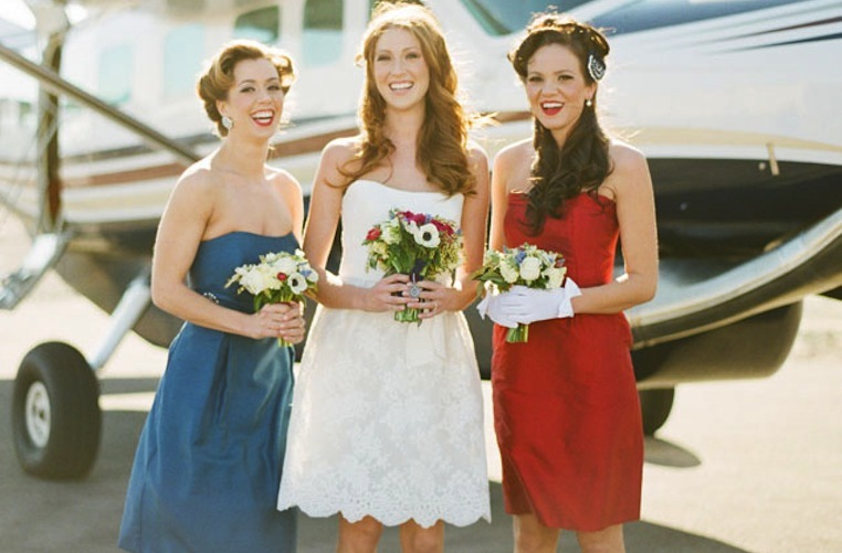 red white and blue wedding inspiration 4th of july weddings bride with bridesmaids