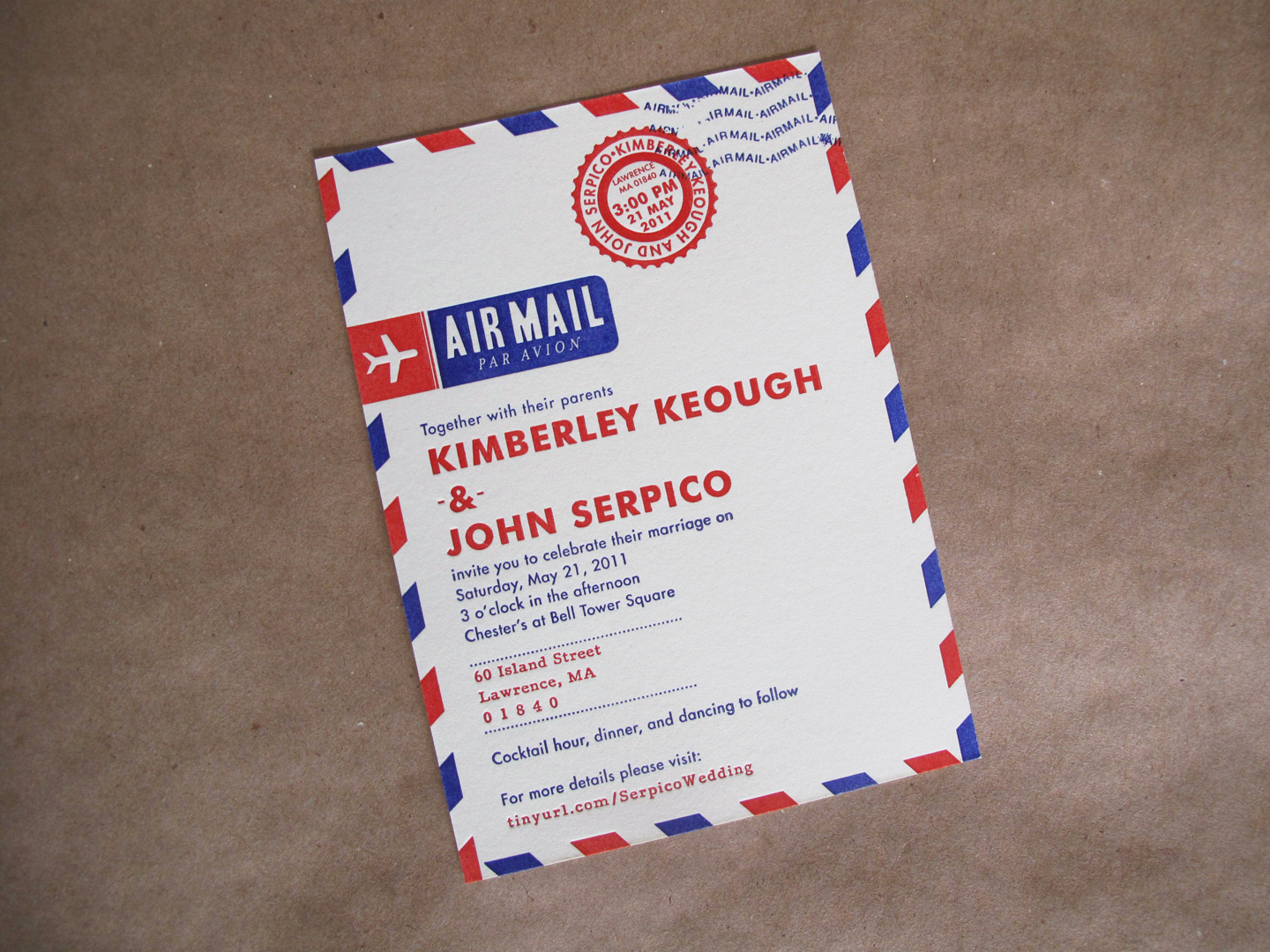 Red White And Blue Wedding Inspiration 4th Of July Weddings Unique Invitations Air Mail 1