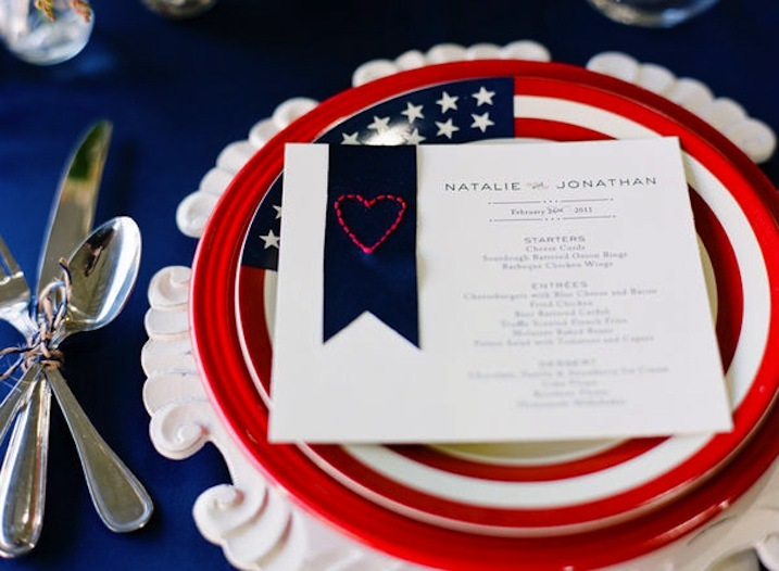 red white and blue wedding inspiration 4th of july weddings stationery 1