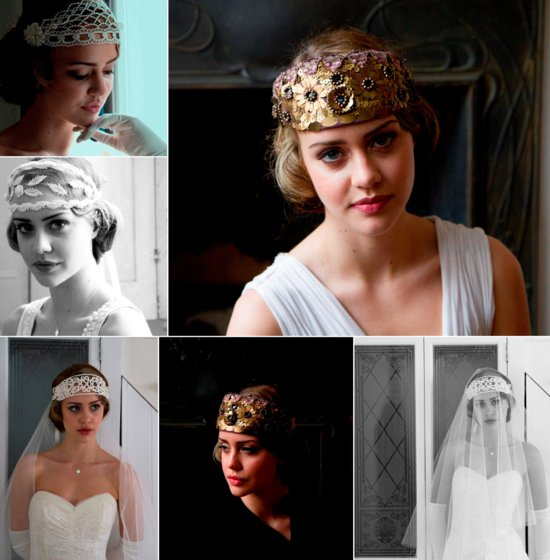 vintage wedding inspiration downton abbey wedding theme bridal headpieces 2