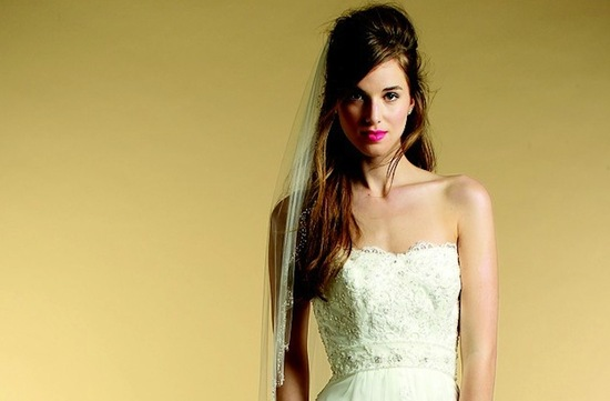 messy half up wedding hairstyle long bangs Mon Cheri wedding dress