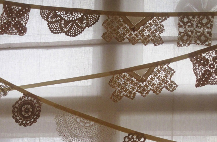 handmade wedding ideas reception decor bunting banners vintage lace