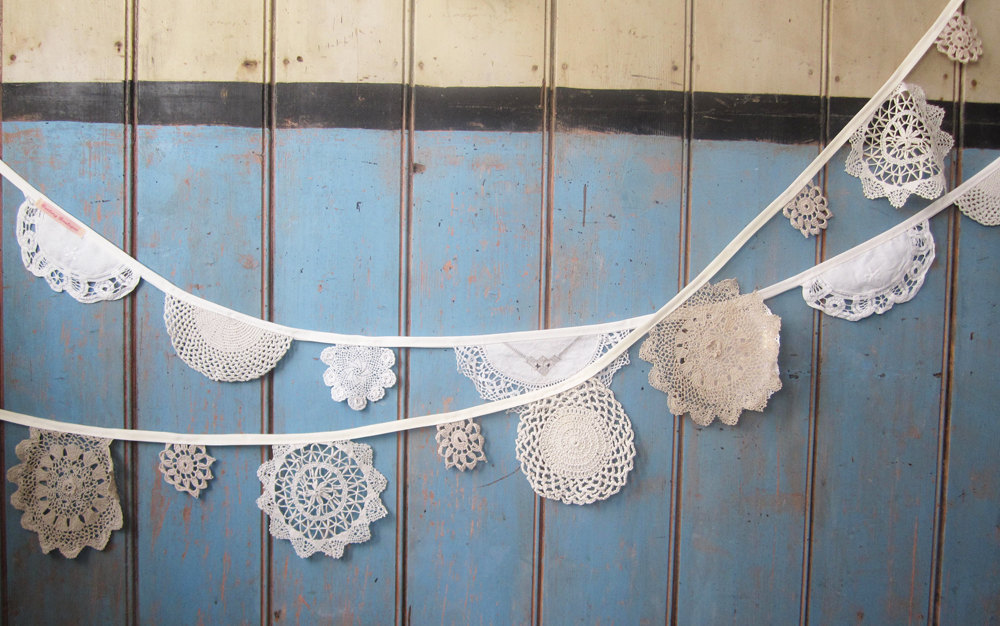 vintage inspired wedding decor lace doily bunting