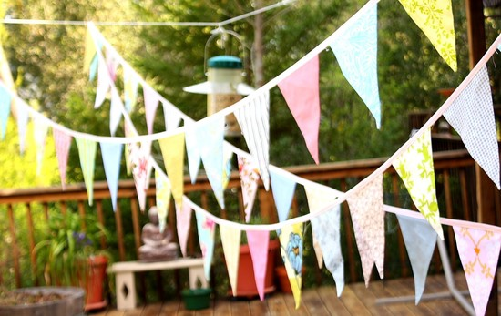 colorful bunting for outdoor weddings