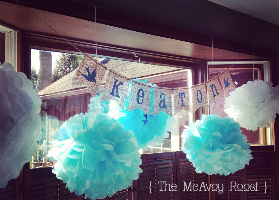 Rustic-wedding-sign-bunting-turquoise-paper-flower-globes.full
