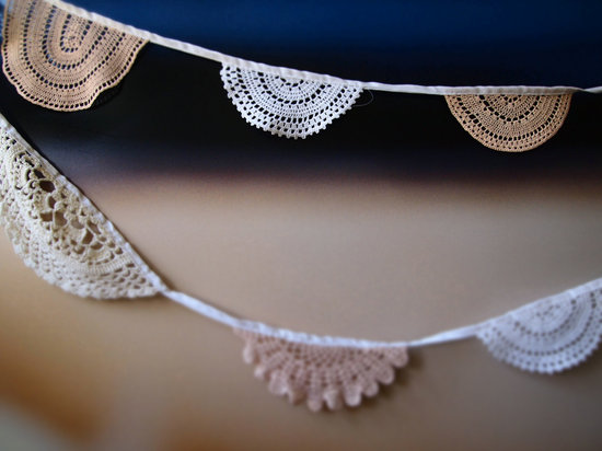 romantic crochet bunting wedding reception decor