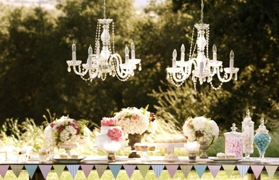 handmade wedding ideas reception decor bunting banners chandeliers