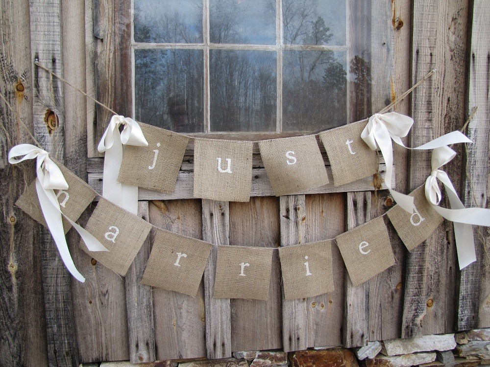 handmade wedding ideas reception decor bunting banners rustic just married