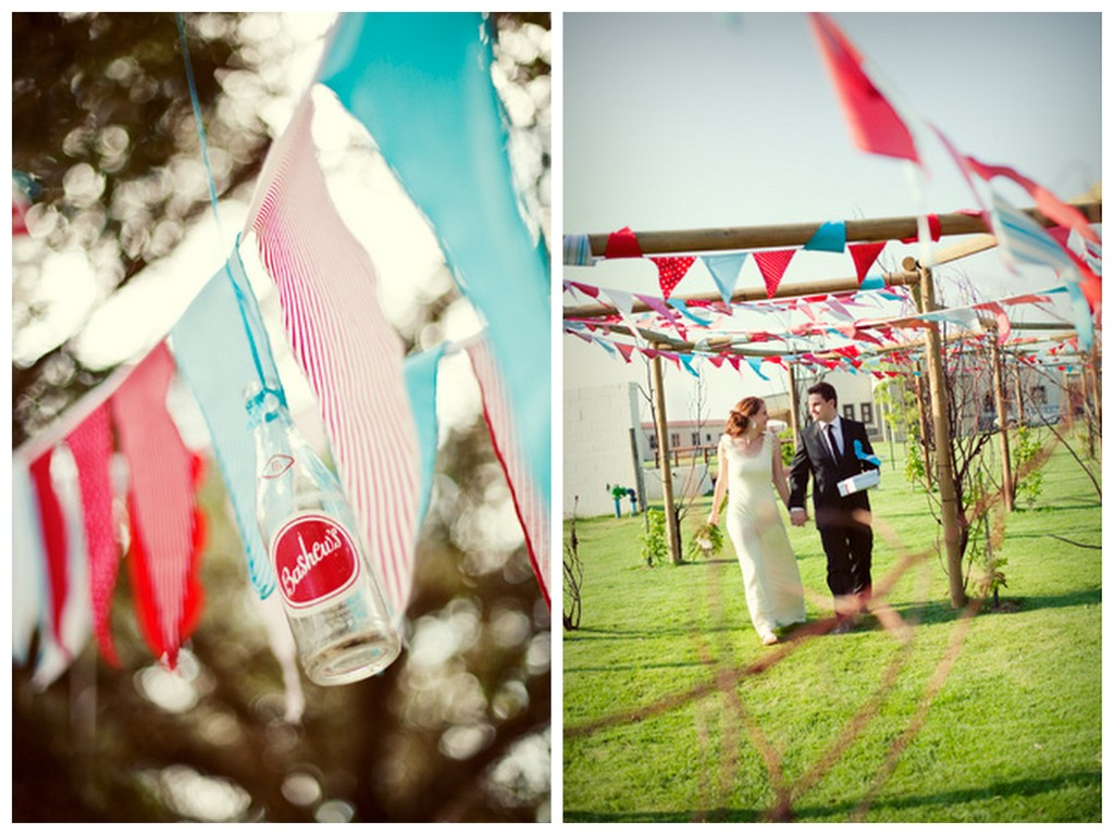 fun wedding decor ideas for outdoor wedding bunting 1