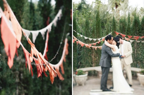 colorful outdoor wedding reception bunting decor coral outdoor ceremony