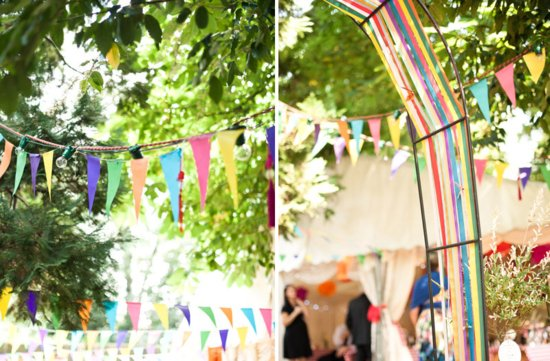 colorful outdoor wedding reception bunting decor 1
