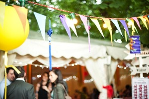 photo of handmade wedding ideas reception decor bunting banners colorful