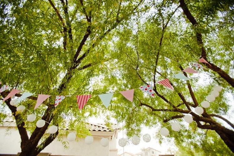wedding ideas reception decor bunting banners outdoor spring wedding